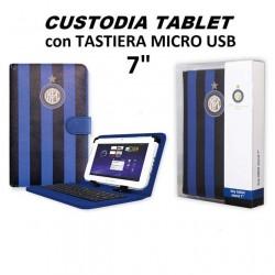 """Custodia Cover Stand Tablet 7"""" Pollici UNIVERSALE con Tastiera Micro Usb, nero-azzuro """"Inter"""""""