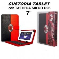 """Custodia Cover Stand Tablet 7"""" Pollici UNIVERSALE con Tastiera Micro Usb, rosso-nero """"Milan"""""""