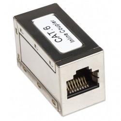 Accoppiatore per cavi Rete  RJ45 Cat 6 8P8C Femmina/ Femmina, FTP, Silver