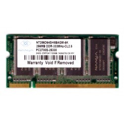 MEMORIA RAM SODIMM DDR 256MB 333mhz Nanya PC-2700s-25330 per NOTEBOOK