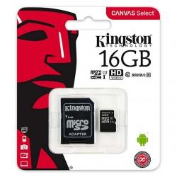 MEMORIA SECURE DIGITAL MICRO-SD  CON ADATTATORE KINGSTON 16GB CLASSE 10 80mb/s Canvas
