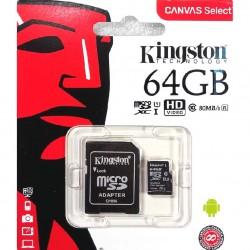 MEMORIA SECURE DIGITAL MICRO-SD  CON ADATTATORE KINGSTON 64GB CLASSE 10 80mb/s Canvas