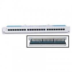 """Pannello Patch Panel per Rack 19"""" Altezza 1HE STP 24 posti RJ45 cat. 5E Grigio"""