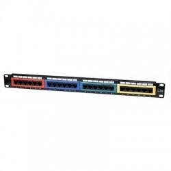 """Pannello Patch Panel per Rack 19"""" Altezza 1HE UTP 24 posti RJ45 cat. 5E Col."""