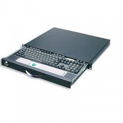 """Cassetto porta tastiera/oggetti NERO 1HE con serratura per armadi rack 19""""."""