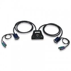 MINI KVM SWITCH 2  PS/2 + VGA, controlla 2 PC con 1 mouse/tastiera/monitor