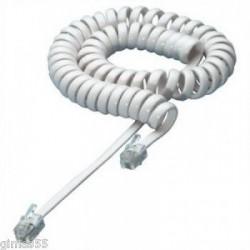 Cavo telefonico spiralato per cornette RJ10 4P4C 7mt BIANCO