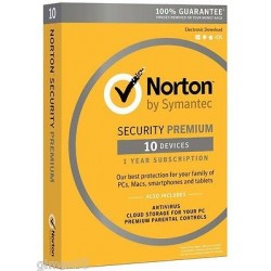 SYMANTEC NORTON SECURITY PREMIUM 3.0 Full 1 UTENTE 10 DISPOSITIVI (PC, MAC, Smartphone o Tablet) con backup sul cloud 25GB