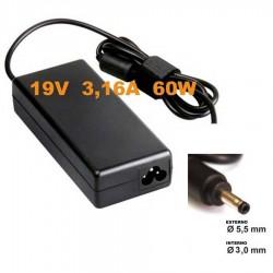 Alimentatore caricabatteria x Notebook SAMSUNG 19V fino a 3,16A 60W 5,5x3,0mm