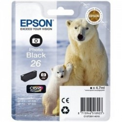 CARTUCCIA ORIGINALE EPSON T26 NERO PHOTO C13T26114010 ORSO POLARE
