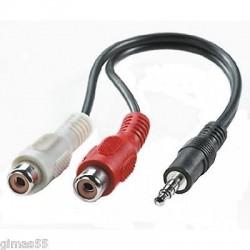 Cavo Adattatore Audio Stereo 2 RCA femmina a Jack 3.5 mm maschio