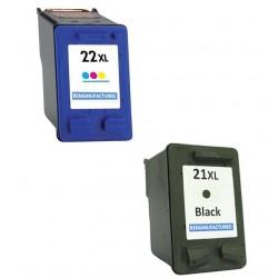 CARTUCCE RIGENERATE COMPATIBILI HP21XL+ HP22XL NERO+COLORI