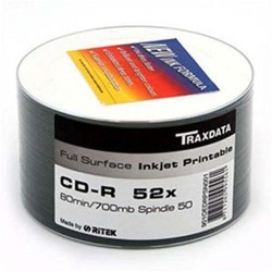 CD-R TRAXDATA PRINTABLE 52x 700mb 80min. confezione da  50
