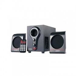 Sistema Speaker Stereo 2.1 con Subwoofer, card reader,porta USB, Radio FM, telecomando, potenza 120 watt max.