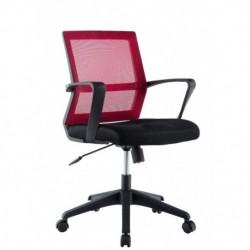 Sedia per Ufficio con Schienale Medio Nero/Bordeaux