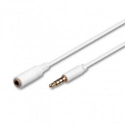 Cavo Prolunga audio Stereo Jack 3.5 mm M/F  50 cm. Bianco