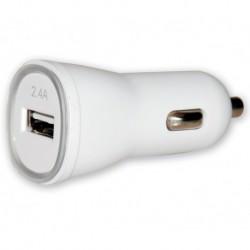 Carica batterie Alimentatore da Auto 1p USB con uscita 5V / 2.4Ah Bianco