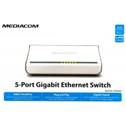 SWITCH HUB 5 PORTE RETE LAN ETHERNET Gigabit 10/100/1000M RJ45 Mediacom M-NTG05D