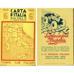 Carta d'Italia TOURING CLUB ITALIANO anni 30 nr.6  - pubblicità Michelin