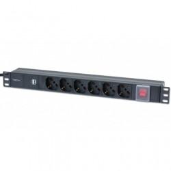 Multipresa 6 posti da rack 19'' con interruttore e 2 prese USB 1 HE