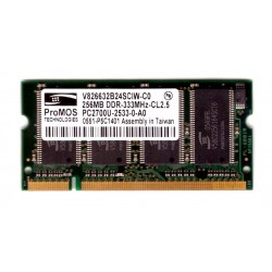 MEMORIA RAM SODIMM DDR 256MB 333mhz CL 2.5 ProMos PC-2700u-25330-0-A0 per NOTEBOOK