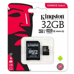 MEMORIA SECURE DIGITAL MICRO-SD  CON ADATTATORE KINGSTON  32GB CLASSE 10 80mb/s Canvas