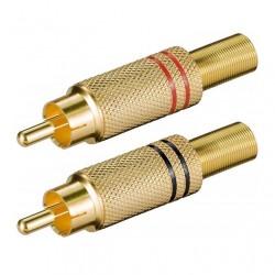 Connettore audio a saldare RCA Maschio in metallo coppia rosso + nero