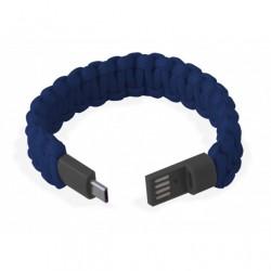 Bracciale Paracord Blu con Micro USB, per ricarica e trasferimento dati
