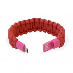 Bracciale Paracord Rosso con Micro USB, per ricarica e trasferimento dati