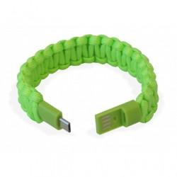 Bracciale Paracord Verde con Micro USB, per ricarica e trasferimento dati