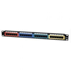 "Pannello Patch Panel per Rack 19"" Altezza 1HE UTP 24 posti RJ45 cat. 5E Col."