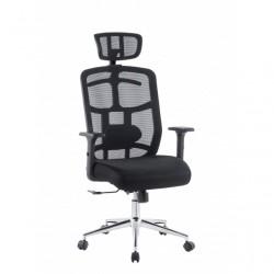 Sedia per Ufficio con Schienale Alto, Poggiatesta e Base Cromata Nero