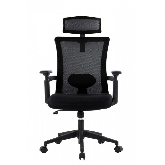 Sedia per Ufficio con Schienale Alto e Poggiatesta Regolabile Nero