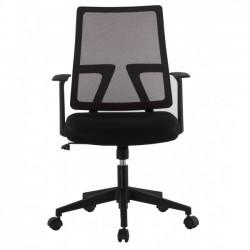 Sedia poltroncina da ufficio con seduta imbottita e schienale in rete (087BK)