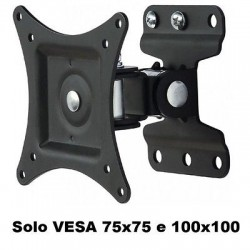 "STAFFA A MURO FULL MOTION PER TV DA 13"" A 27"" VESA MAX 100X100 NERO"