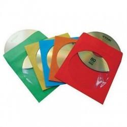 Buste Porta CD/DVD di Carta Colorata con Oblò e Aletta conf. 100 pz