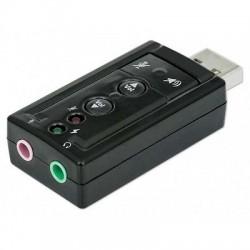 ADATTATORE SCHEDA AUDIO USB SOUND PER MICROFONO, CASSE O CUFFIE Virtual 7.1 , tasto mute, regolazione volume