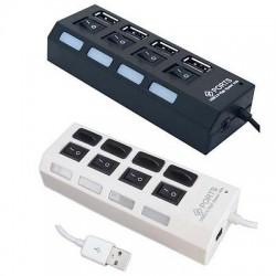 HUB USB 2.0 4 PORTE CON INTERRUTTORI