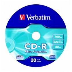 CD-R VERBATIM 52x 700mb 80min. confezione da  20