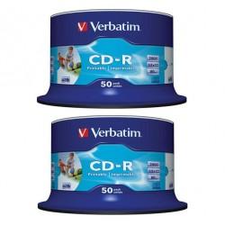 CD-R VERBATIM PRINTABLE 52x 700mb 80min. confezione da 100