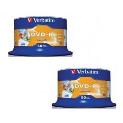 DVD-R VERBATIM PRINTABLE 16x 4.7GB 120MIN. confezione da 100