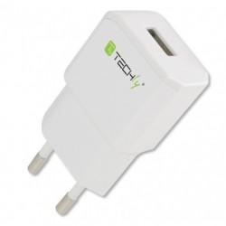 Carica batterie Alimentatore da Rete Italiana 1 porta USB 5V 2.1A Bianco x smartphone tablet